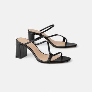 Zara Heeled Mules with Asymmetrical Strap